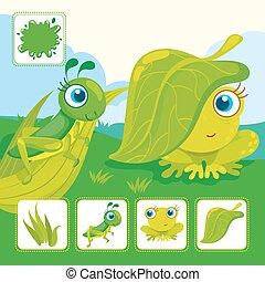 sauterelle, grenouille verte