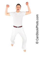 sauts, complet, homme, sports