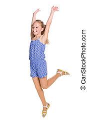 sauts, heureux, girl, jeune