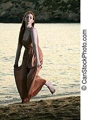 sauts, méditerranéen, jeune, danses, danseur, femme, modèle, plage