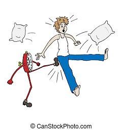 sauts, reveil, donner, temps, tôt, clock., haut., horloge, dehors, way., courses, loin, travail, kick., lit, homme, sillage, matin, réveille, surprise, non-standard