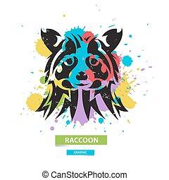 sauvage, blots, illustration., coloré, graphique, stylisé, arrière-plan., vecteur, artistique, raton laveur, animal.