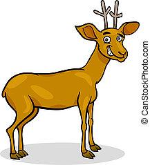 sauvage, cerf, dessin animé, illustration
