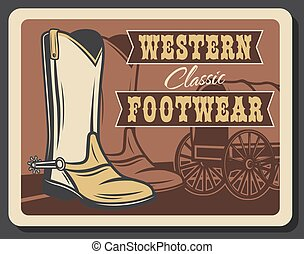 sauvage, chaussures, occidental, ouest, retro, cow-boy, affiche