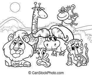 sauvage, coloration, animaux, dessin animé, page