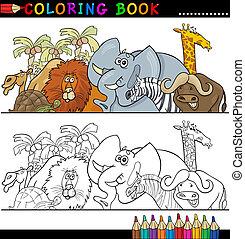 sauvage, coloration, animaux, safari