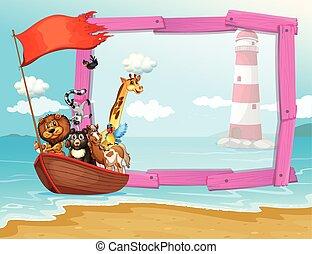 sauvage, conception, cadre, animaux, bateau