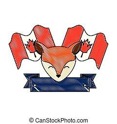 sauvage, drapeaux, renard, canadien