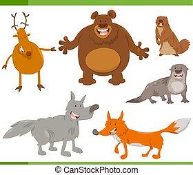 sauvage, ensemble, animal, caractères, heureux