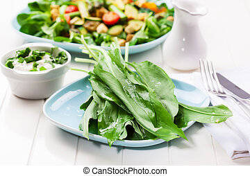 sauvage, frais, feuilles, ail