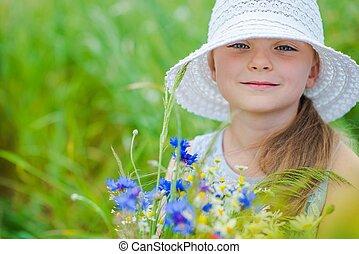 sauvage, girl, fleurs