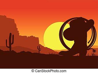 sauvage, lasso, ouest, désert, américain, botte, paysage, ...