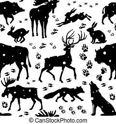 sauvage, modèle, animaux, seamless