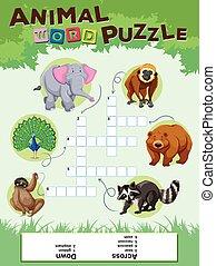 sauvage, mot, puzzle, animaux, jeu