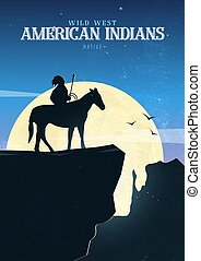 sauvage, ouest américain, indigène, horse., paysage., indien