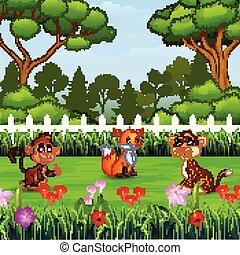 sauvage, parc, dessin animé, animal