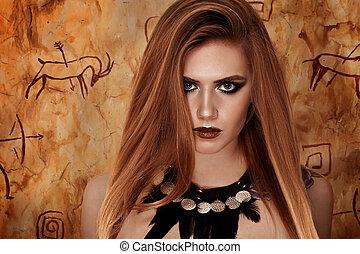 sauvage, portrait, style, modèle