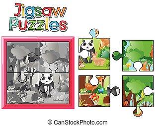 sauvage, puzzle, puzzle, animaux, jeu