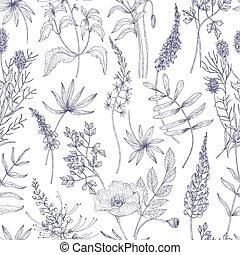 sauvage, style, naturel, réaliste, herbes, lignes, vendange, paper., emballage, seamless, illustration, arrière-plan., vecteur, modèle, fleurir, fleurir, dessiné, fleurs blanches, botanique, contour