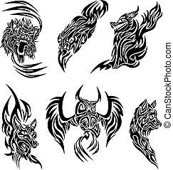 sauvage, tatouage, animaux