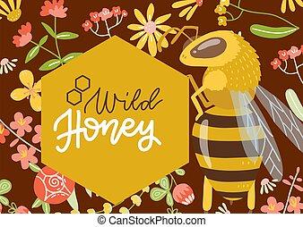 sauvage, vecteur, dessiné, miel, étiquette, grand, bee., fleur, illustration., plat, main, ou, modèle, bannière