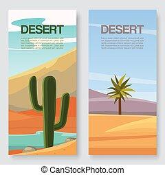 sauvage, vecteur, voyage, bannières, savane, deux, désert, abandonné, toile de fond, afrique., désert, rochers, paysage, illutration, set., sables, cactus, paumes, voyager