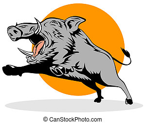 sauvage, verrat, Sauter, cochon