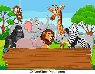 sauvage, vide, jungle, dessin animé, animal, planche