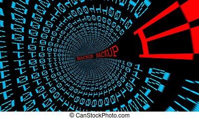 sauvegarde, données, tunnel