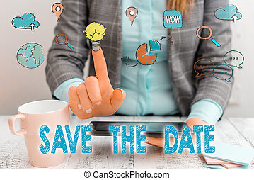 sauver, écriture, date., evénements, spécial, business, faire, organizers., puits, organiser, mot, jour, texte, événement, concept