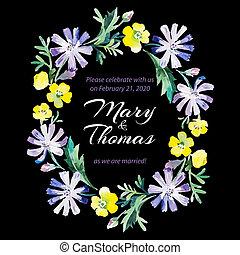 sauver, amour, bouquet., carte, floral, aquarelle, date