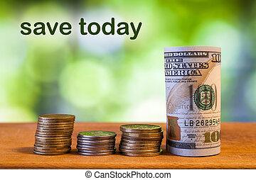 sauver, cents, note, roulé, cent, pièces, dollar, américain, nous, une, arrière-plan., bokeh, concept, vert, billet banque, brouillé, aujourd'hui