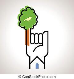 sauver, concept, arbre