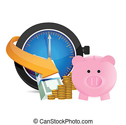 sauver, concept, argent., temps
