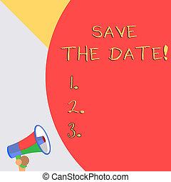 sauver, concept, mot, business, texte, faire, puits, jour, écriture, evénements, organizers., organiser, événement, spécial, date.
