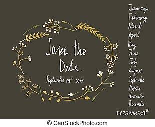 sauver, couronne, invitation, taché d'encre, noir, carte, rustique, date, calligraphie