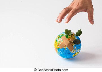 sauver, ecology., tenue, planète, mains, la terre, planet., danger, concept., isolé, homme, objet, vert, arrière-plan., main, blanc