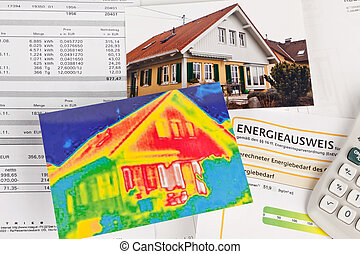 sauver, energy., maison, à, thermique, imaging, appareil photo
