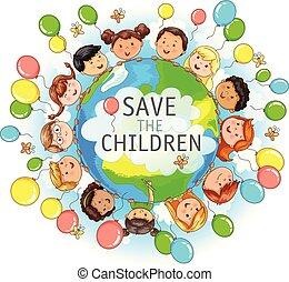 sauver, enfants, illustration