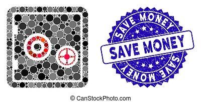 sauver, gratté, icône, sûr, mosaïque, cachet, banque, argent