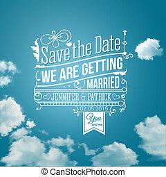 sauver, holiday., image., mariage, invitation., vecteur, personnel, date
