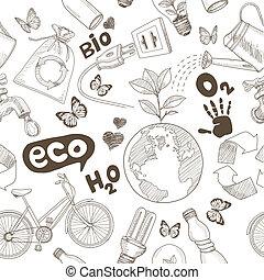 sauver, la terre, dessin, mondiale, vert