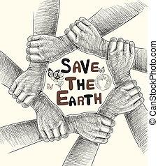 sauver, mains, la terre, dessin, conceptual.
