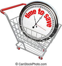 sauver, temps, chariot, horloge