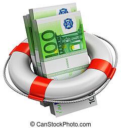 sauveteur, argent, paquets, billets banque, 100, euro, bouée