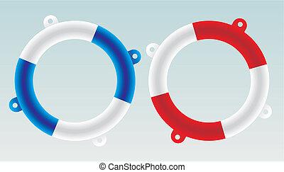 sauveteur, vecteur, -, bateau