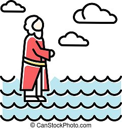 sauveur, christ., icon., eau, illustration, miracles, ouvert, surface, marche, waching, narrative., nouveau, heaven., bleu, couleur, jésus, testament., vecteur, offrande, main, isolé, bible