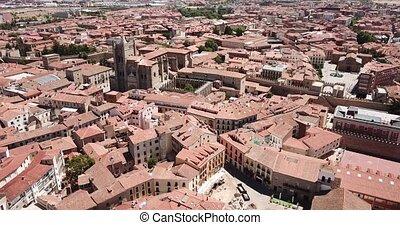 sauveur, vue, cathédrale, été, cityscape, ville, fortifié, aérien, jour, gothique, espagnol, avila, fond