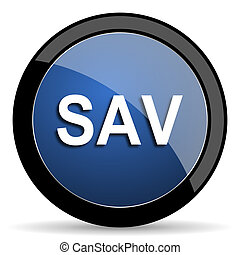 sav blue circle glossy web icon on white background, round button for internet and mobile app