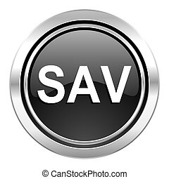 sav icon, black chrome button